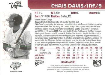 2010 MultiAd Pacific Coast League All-Stars #5 Chris Davis Back