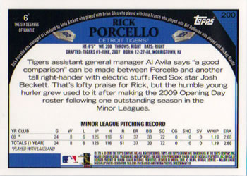 Verzamelingen 2009 Topps Ticket To Stardom Perforated #207 Rick Porcello Detroit Tigers Card