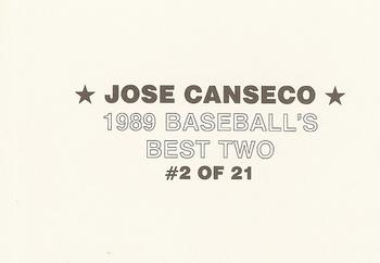 1989 Baseball's Best Two (unlicensed) #2 Jose Canseco Back