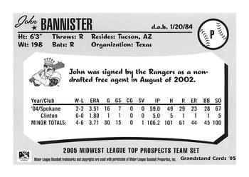 2005 Grandstand Midwest League Top Prospects #NNO John Bannister Back