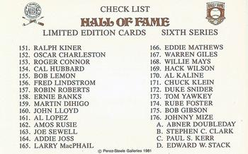 1980-01 Perez-Steele Hall of Fame Series 1-15 #NNO Sixth Series Checklist Front