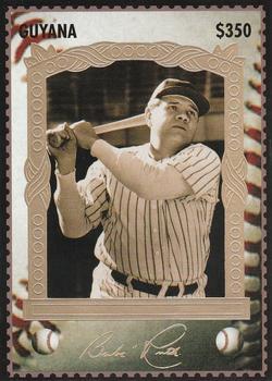 Verzamelkaarten, ruilkaarten Verzamelingen 1994 Guyana Sultan of Swat Stamp Cards $350 #7 Babe Ruth New York Yankees Card