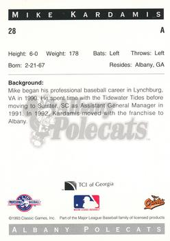 1993 Classic Best Albany Polecats #28 Mike Kardamis Back