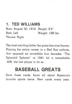 1985 Baseball Greats Caricatures #1 Ted Williams Back