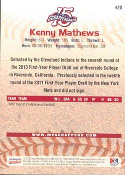 2013 Choice Mahoning Valley Scrappers #20 Kenny Mathews Back