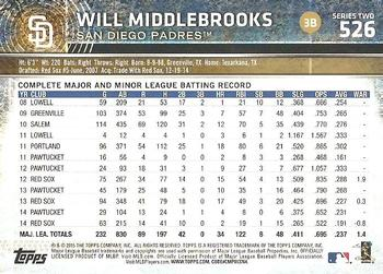 2015 Topps #526a Will Middlebrooks Back