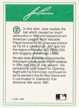 1989 CMC Jose Canseco #7 Jose Canseco Back