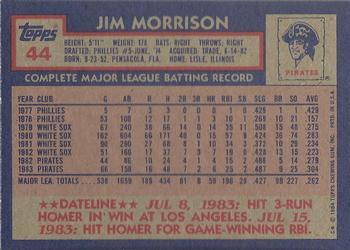 1984 Topps #44 Jim Morrison Back