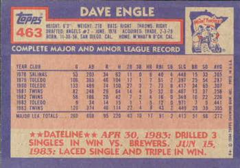 1984 Topps #463 Dave Engle Back