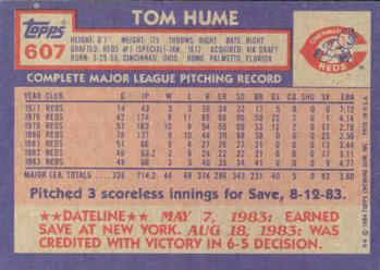 1984 Topps #607 Tom Hume Back