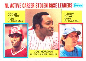 1984 Topps #705 NL Active Career Stolen Bases Leaders - Joe Morgan / Cesar Cedeno / Larry Bowa Front