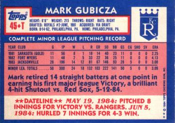 1984 Topps Traded #45T Mark Gubicza Back