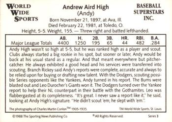 1988 Conlon World Wide Sports Series 3 #13 Andy High Back