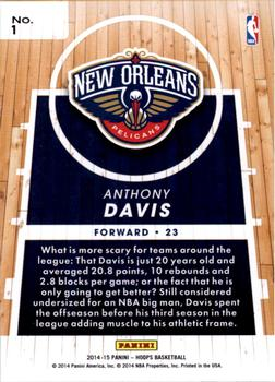 2014-15 Hoops - Faces of the Future #1 Anthony Davis Back