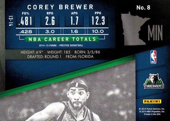 2014-15 Panini Prestige #8 Corey Brewer Back