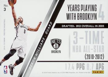 2014-15 Panini Prestige - Franchise Favorites #3 Deron Williams Back