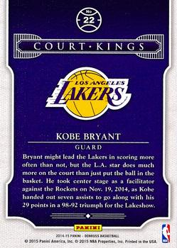 2014-15 Donruss - Court Kings Stat Line Career #22 Kobe Bryant Back