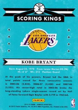 2014-15 Donruss - Scoring Kings Press Proofs Gold #2 Kobe Bryant Back
