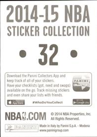 2014-15 Panini Stickers #32 New York Knicks Road Jersey Back