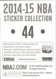 2014-15 Panini Stickers #44 76ers Home Jersey Back