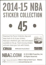 2014-15 Panini Stickers #45 76ers Road Jersey Back