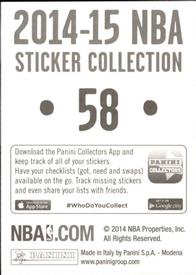 2014-15 Panini Stickers #58 Raptors Road Jersey Back
