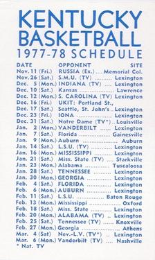 1977-78 Kentucky Wildcats Schedules #NNO Rick Robey Back