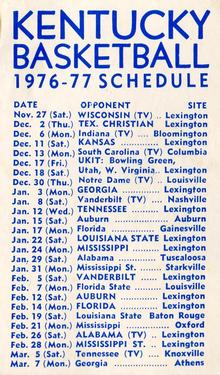 1976-77 Kentucky Wildcats Schedules #NNO Tim Stephens Back