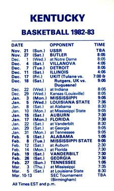 1982-83 Kentucky Wildcats Schedules #NNO Tom Heitz Back