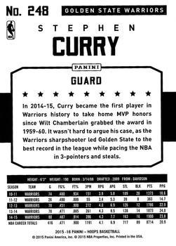2015-16 Hoops - Green #248 Stephen Curry Back