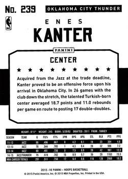 2015-16 Hoops - Red #239 Enes Kanter Back