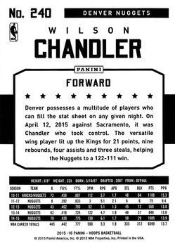 2015-16 Hoops - Red #240 Wilson Chandler Back