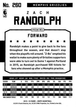 2015-16 Hoops - Silver #260 Zach Randolph Back