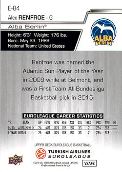 2015-16 Upper Deck Euroleague #E-84 Alex Renfroe Back