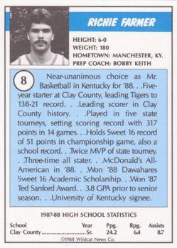 1988 Kentucky AAU Soviets - Perforated #8 Richie Farmer Back
