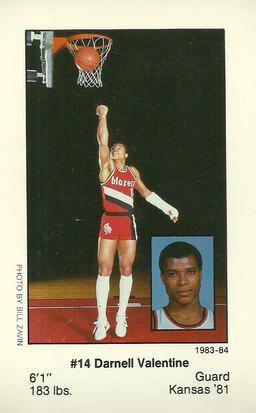 1983 84 Portland Trailblazers Police #NNO Darnell Valentine