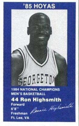 1984 85 Georgetown Hoyas 6 Ronnie Highsmith