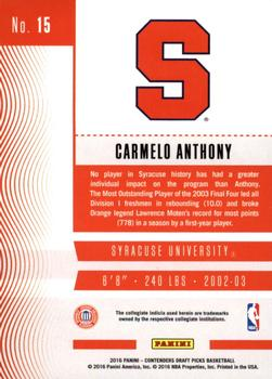 2016 Panini Contenders Draft Picks #15 Carmelo Anthony Back