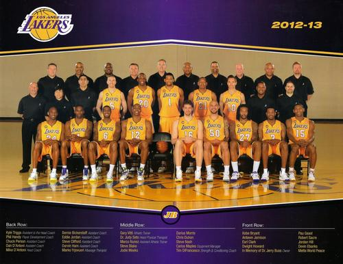 2012-13 Los Angeles Lakers Team Photos #NNO Los Angeles Lakers Front