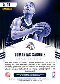 2016 Panini Contenders Draft Picks - Class Reunion #16 Domantas Sabonis Back