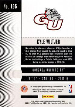 2016 Panini Contenders Draft Picks - College Ticket Autographs Draft Ticket Blue Foil #165 Kyle Wiltjer Back