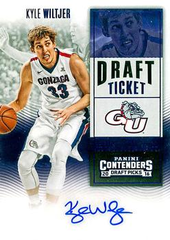 2016 Panini Contenders Draft Picks - College Ticket Autographs Draft Ticket Blue Foil #165 Kyle Wiltjer Front