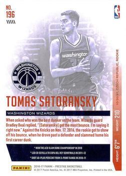 2016-17 Panini Excalibur #178 Tomas Satoransky Washington Wizards ...