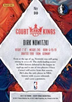 2017-18 Panini Court Kings #30 Dirk Nowitzki Back