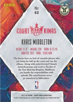 2017-18 Panini Court Kings #62 Khris Middleton Back