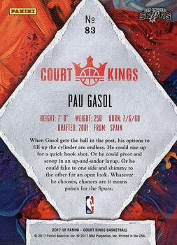 2017-18 Panini Court Kings #83 Pau Gasol Back