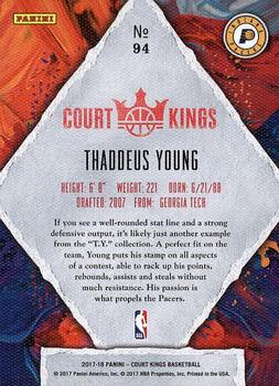 2017-18 Panini Court Kings #94 Thaddeus Young Back