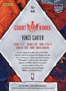 2017-18 Panini Court Kings #98 Vince Carter Back