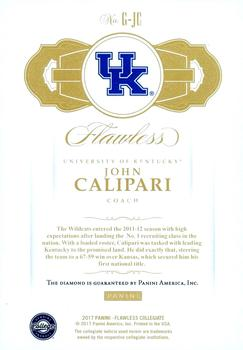 2017-18 Panini Flawless Collegiate #G-JC John Calipari Back
