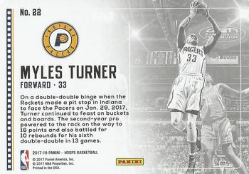2017-18 Hoops - Lights Camera Action #22 Myles Turner Back